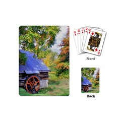 Landscape Blue Shed Scenery Wood Playing Cards (mini)