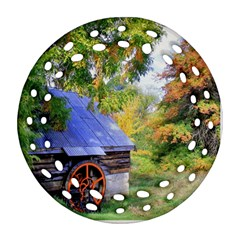 Landscape Blue Shed Scenery Wood Round Filigree Ornament (two Sides)