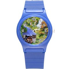Landscape Blue Shed Scenery Wood Round Plastic Sport Watch (s)
