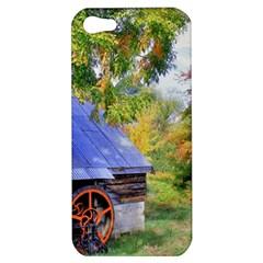Landscape Blue Shed Scenery Wood Apple Iphone 5 Hardshell Case