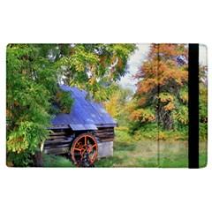 Landscape Blue Shed Scenery Wood Apple Ipad 3/4 Flip Case