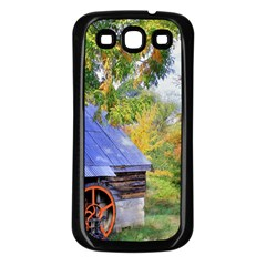 Landscape Blue Shed Scenery Wood Samsung Galaxy S3 Back Case (black)