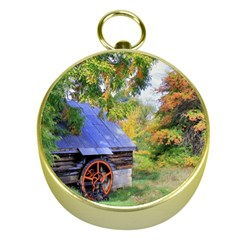 Landscape Blue Shed Scenery Wood Gold Compasses