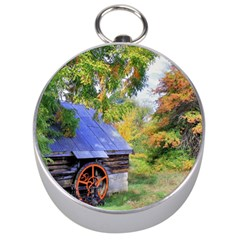 Landscape Blue Shed Scenery Wood Silver Compasses