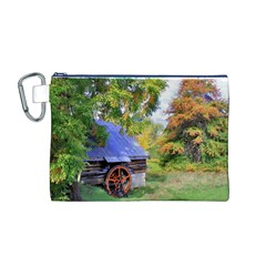 Landscape Blue Shed Scenery Wood Canvas Cosmetic Bag (m)