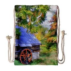 Landscape Blue Shed Scenery Wood Drawstring Bag (large)