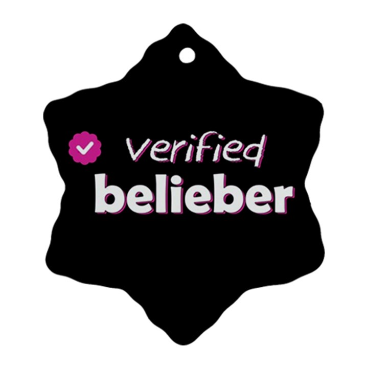 Verified Belieber Snowflake Ornament (Two Sides)