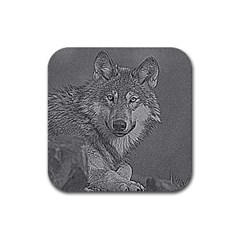 Wolf Forest Animals Rubber Square Coaster (4 Pack)
