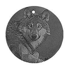 Wolf Forest Animals Round Ornament (two Sides)
