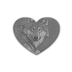 Wolf Forest Animals Rubber Coaster (heart)