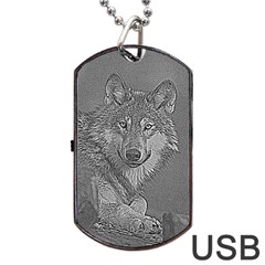 Wolf Forest Animals Dog Tag Usb Flash (two Sides)