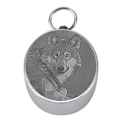 Wolf Forest Animals Mini Silver Compasses