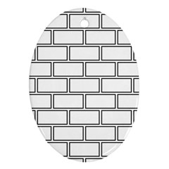 Wall Pattern Rectangle Brick Oval Ornament (two Sides)