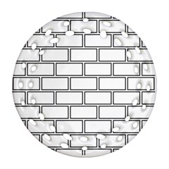 Wall Pattern Rectangle Brick Round Filigree Ornament (two Sides)