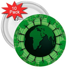 Earth Forest Forestry Lush Green 3  Buttons (10 Pack)