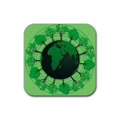Earth Forest Forestry Lush Green Rubber Square Coaster (4 Pack)