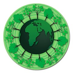 Earth Forest Forestry Lush Green Magnet 5  (round)