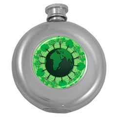 Earth Forest Forestry Lush Green Round Hip Flask (5 Oz)