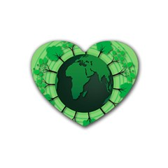 Earth Forest Forestry Lush Green Rubber Coaster (heart)