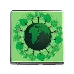 Earth Forest Forestry Lush Green Memory Card Reader (square)