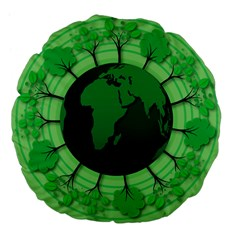 Earth Forest Forestry Lush Green Large 18  Premium Flano Round Cushions