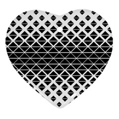 Triangle Pattern Background Heart Ornament (two Sides)