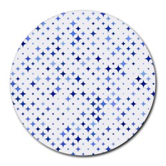 Star Curved Background Blue Round Mousepads