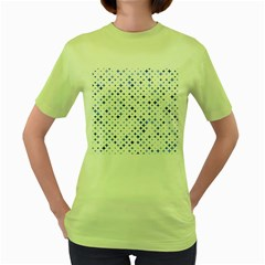Star Curved Background Blue Women s Green T Shirt
