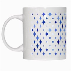 Star Curved Background Blue White Mugs