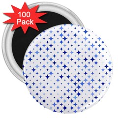 Star Curved Background Blue 3  Magnets (100 Pack)