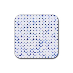Star Curved Background Blue Rubber Coaster (square)
