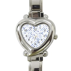 Star Curved Background Blue Heart Italian Charm Watch