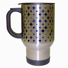 Star Curved Background Blue Travel Mug (silver Gray)