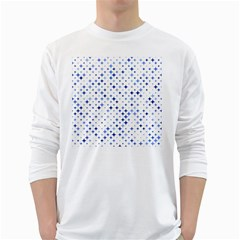 Star Curved Background Blue White Long Sleeve T Shirts