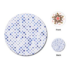 Star Curved Background Blue Playing Cards (round)