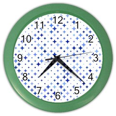 Star Curved Background Blue Color Wall Clocks