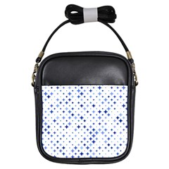 Star Curved Background Blue Girls Sling Bags