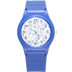 Star Curved Background Blue Round Plastic Sport Watch (s)