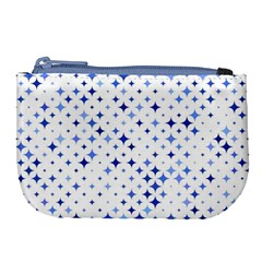 Star Curved Background Blue Large Coin Purse