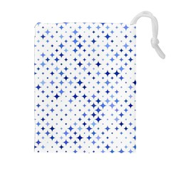 Star Curved Background Blue Drawstring Pouches (extra Large)