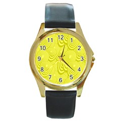 Yellow Oval Ellipse Egg Elliptical Round Gold Metal Watch