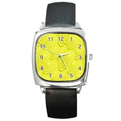 Yellow Oval Ellipse Egg Elliptical Square Metal Watch