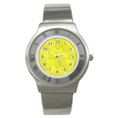 Yellow Oval Ellipse Egg Elliptical Stainless Steel Watch