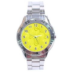Yellow Oval Ellipse Egg Elliptical Stainless Steel Analogue Watch