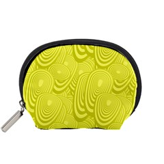 Yellow Oval Ellipse Egg Elliptical Accessory Pouches (small)