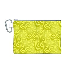 Yellow Oval Ellipse Egg Elliptical Canvas Cosmetic Bag (m)