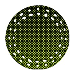 Pattern Halftone Background Dot Round Filigree Ornament (two Sides)