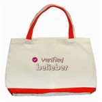Verified Belieber Classic Tote Bag (Red) Front
