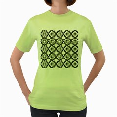 Line Stripe Curves Curved Seamless Women s Green T Shirt