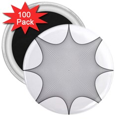 Star Grid Curved Curved Star Woven 3  Magnets (100 Pack)